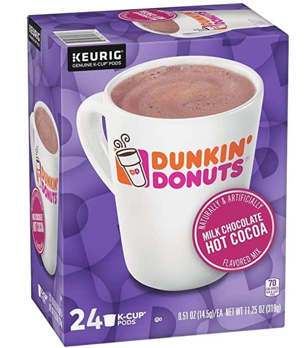 dunkin donuts milk chocolate hot cocoa k cups 24